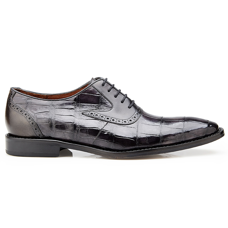Belvedere Walter Alligator & Calf Oxfords Antique Charcoal Image