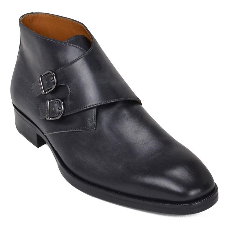 Bruno Magli Alberto Leather Monk Strap Boots Dark Grey Image