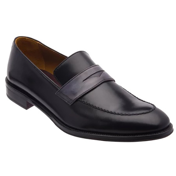 Bruno Magli Arezzo Two Tone Penny Loafer Black Dark Grey Image