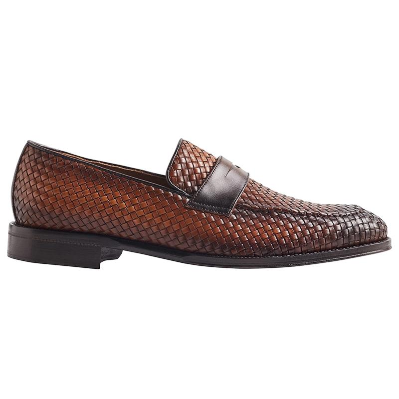 Bruno Magli Arezzo Woven Leather Penny Loafer Cognac/Dark Brown Image
