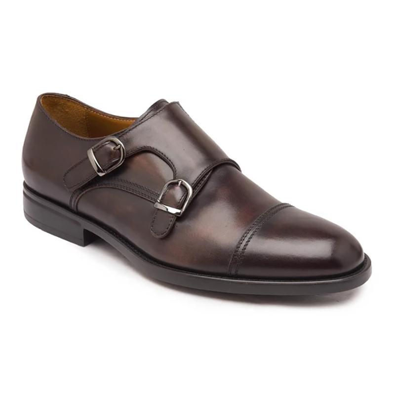Bruno Magli Barone Monk Strap Shoes Dark Brown Image