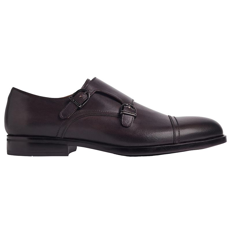 Bruno Magli Barone Monk Strap Shoes Dark Brown Image