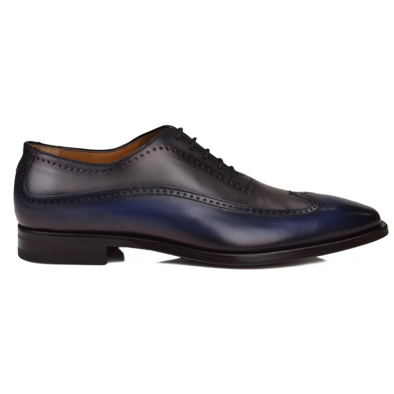 Bruno Magli Calvino Wingtip Oxfords Navy / Gray Image