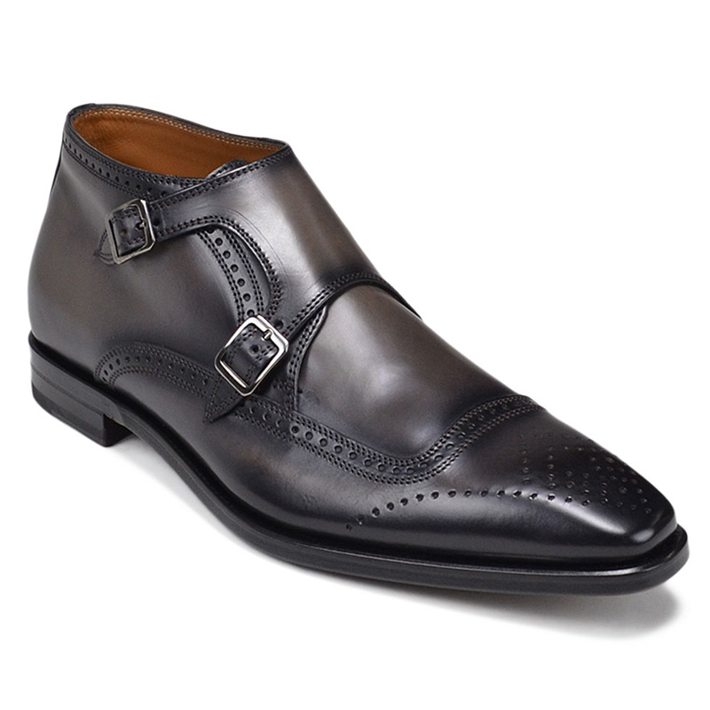 Bruno Magli Carlo Monk Strap Ankle Boots Dark Grey Image