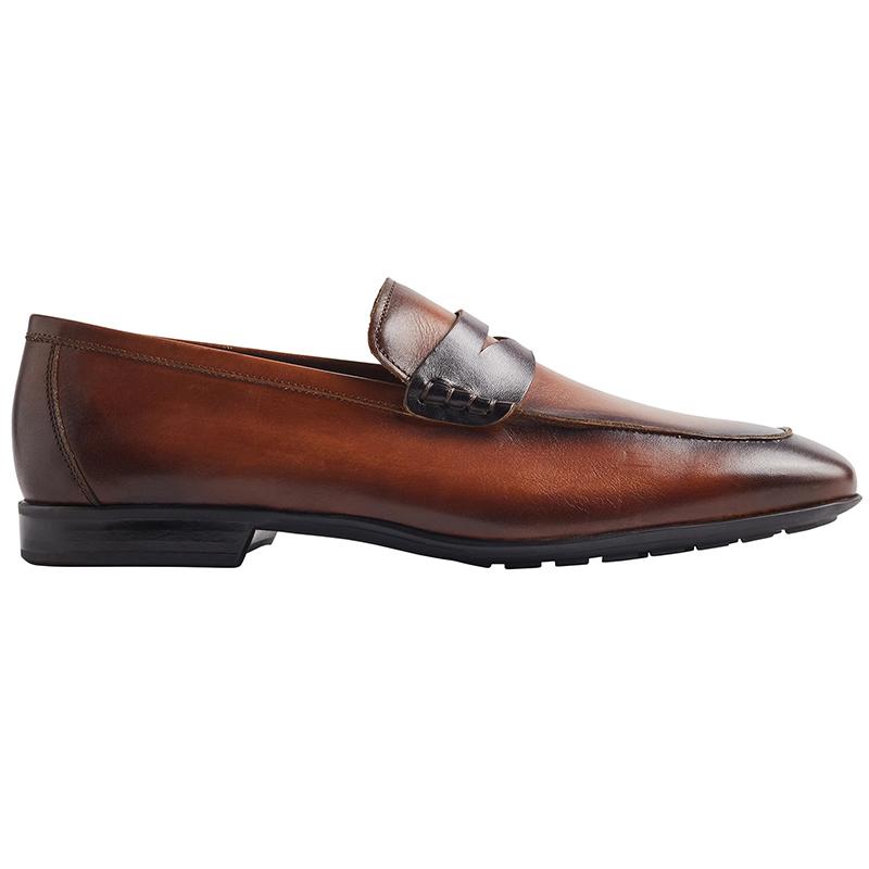 Bruno Magli Dorino Calf-Leather Penny Loafer Cognac/Dark Brown Image