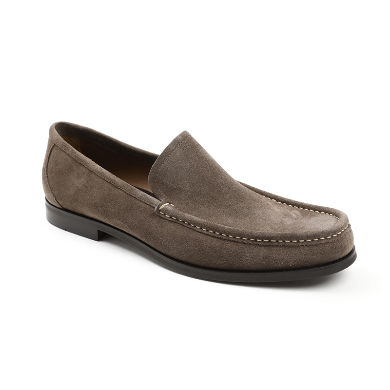 Bruno Magli Encino Plain Vamp Loafers Taupe Suede Image