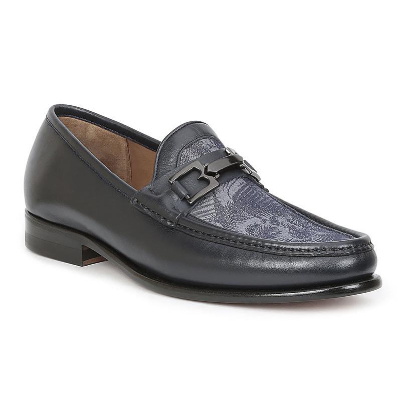Bruno Magli Enzo Leather Fabric Loafers Blue Multi Image