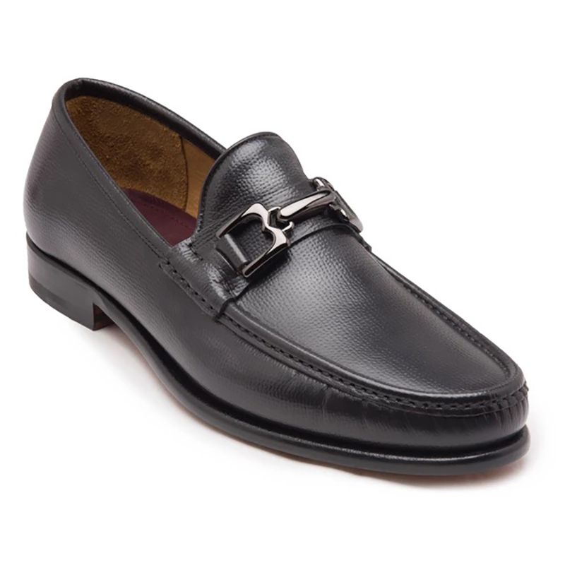 Bruno Magli Enzo Pebbled Leather Bit Loafer Dark Grey Image