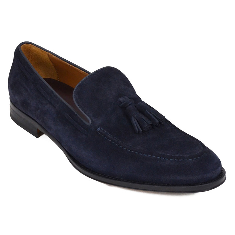 Bruno Magli Fabiolo Suede Tassel Loafers Navy Image