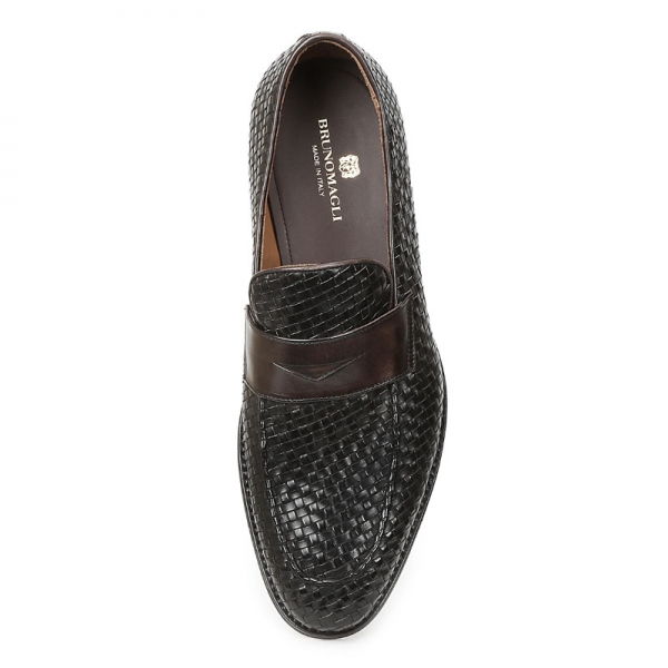 f86be7b917e Bruno Magli Fanetta Woven Penny Loafers Black   Brown Image · Bruno Magli  Mens Shoes logo · ImageText · ImageText