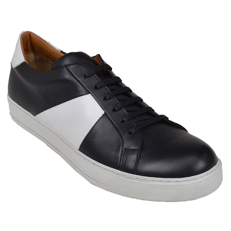 Bruno Magli Gibo Leather Sneakers Black White Image