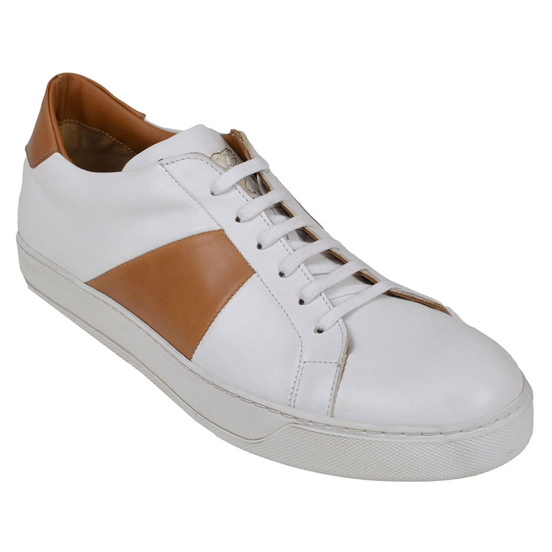 Bruno Magli Gibo Leather Sneakers White Cognac Image