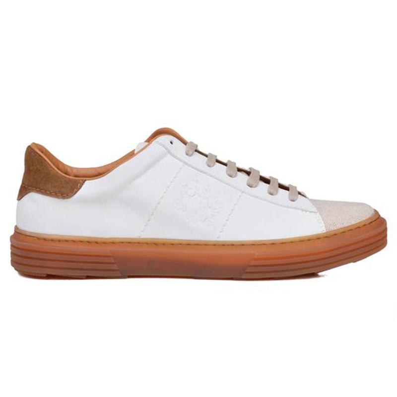 Bruno Magli Giuliano Nubuck Linen Sneaker Off White Cognac Nubuck  Image