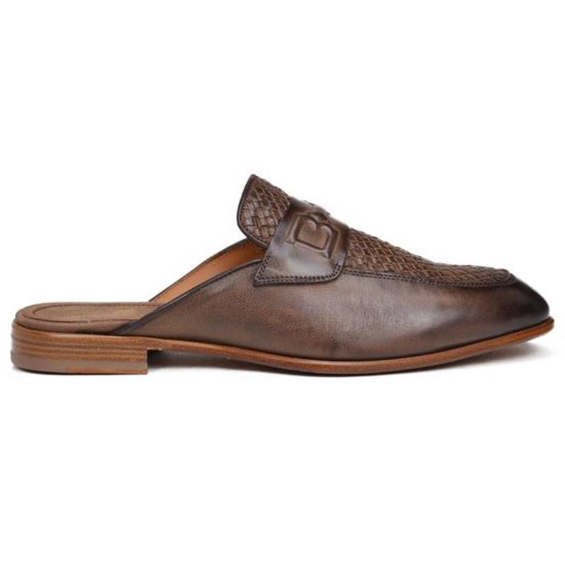 Bruno Magli Imano Embossed Woven Mule Sandals Dark Brown Image