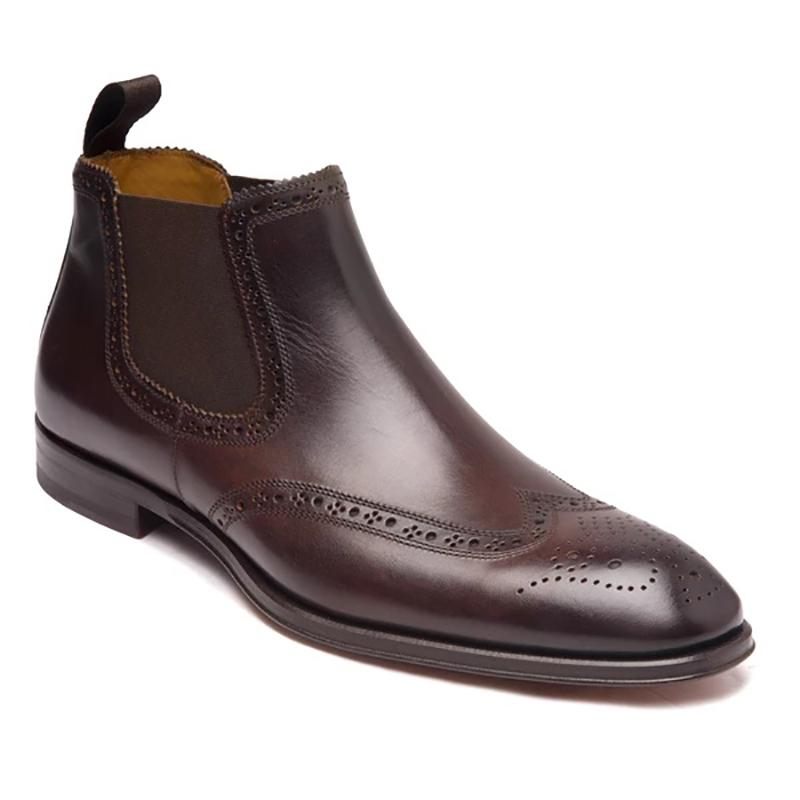 Bruno Magli Lamberto Wing-Tip Chelsea Boots Dark Brown Image