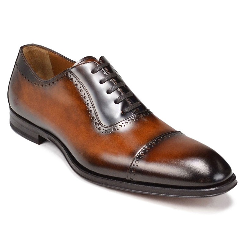 Bruno Magli Lucca Cap Toe Bal Oxford Shoes Cognac Image