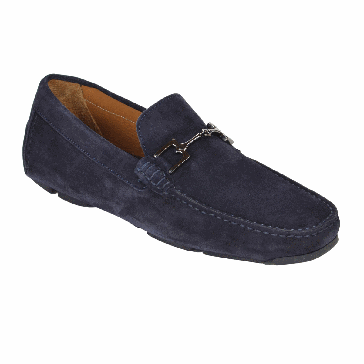Bruno Magli Monza Suede Bit Loafers Navy Image