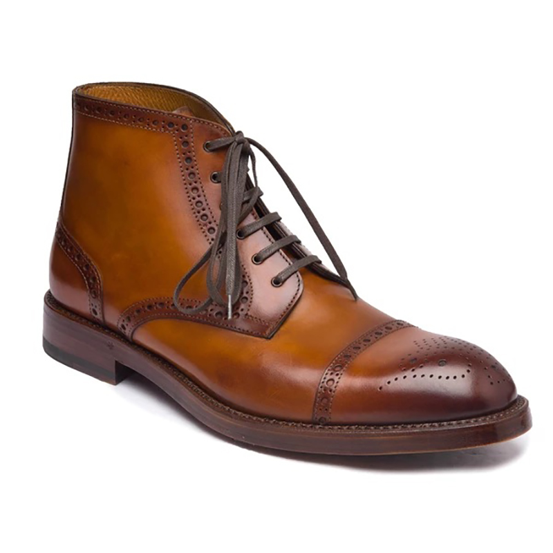Bruno Magli Octavio Brogue Lace Up Boots Cognac Image