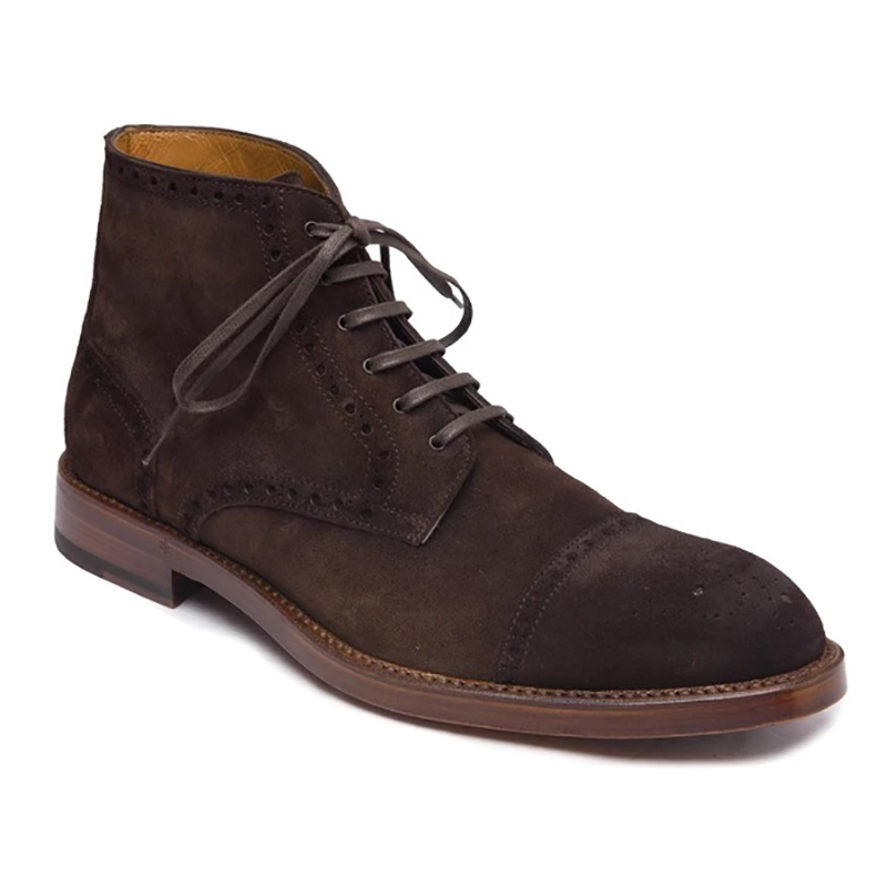 Bruno Magli Octavio Suede Brogue Lace Up Boots Dark Brown Image