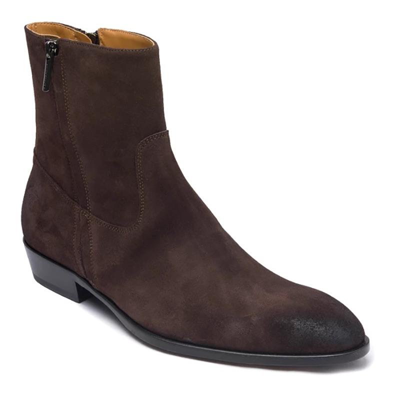 Bruno Magli Risoli Suede Cuban Heel Boots Dark Brown Image