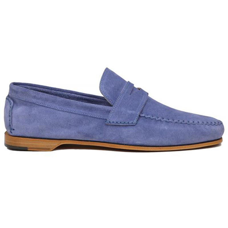Bruno Magli Riva Suede Slip-on Loafer Light Blue Image