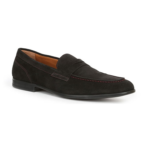 Bruno Magli Silas Suede Penny Loafers Black / Red Stitch Image