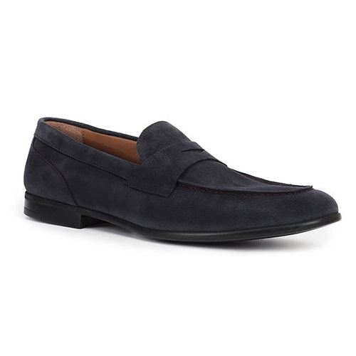 Bruno Magli Silas Suede Penny Loafers Navy Image