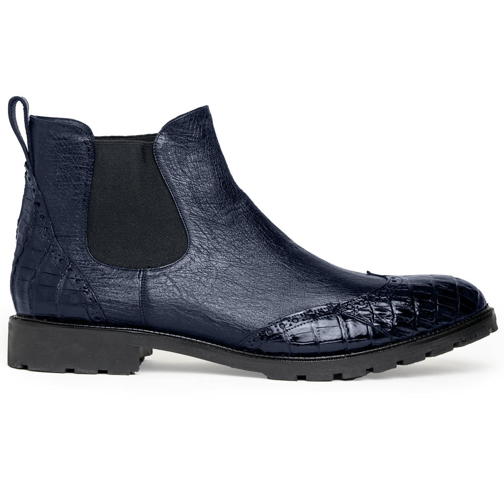 Lombardy Caiman Belly & Smooth Ostrich Chelsea Boots Navy Blue Image