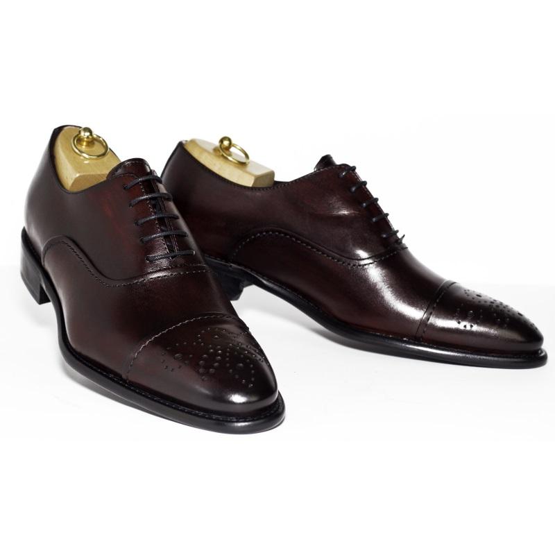 Calzoleria Toscana 2361 Calfskin Cap Toe Shoes Burgundy Image