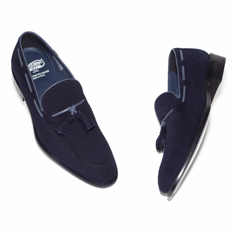 Calzoleria Toscana 7727 Suede Tassel Loafers Navy Image