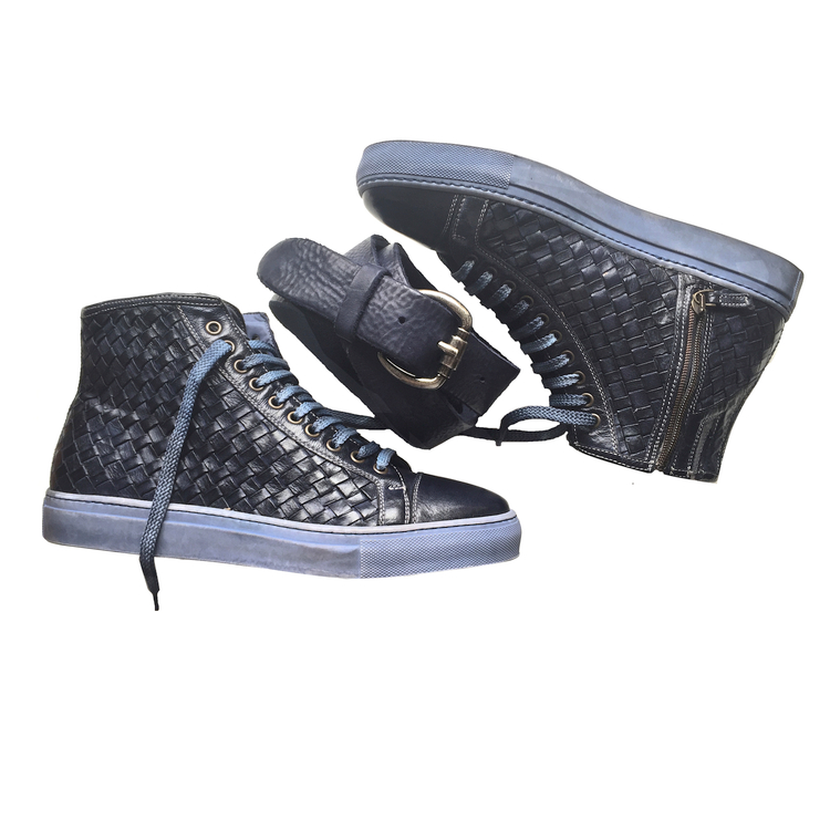 Calzoleria Toscana 9996 Woven Calfskin High Top Sneakers Blue Image