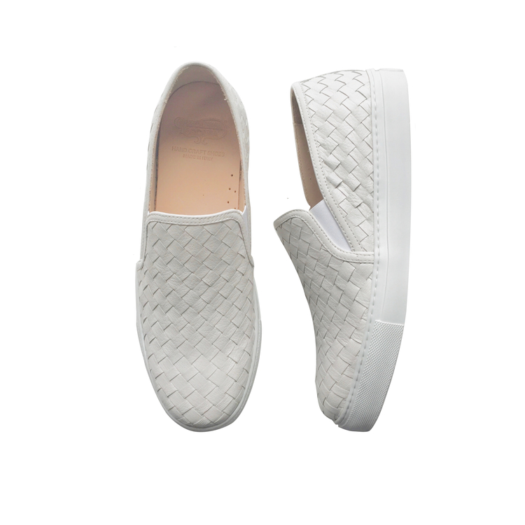 Calzoleria Toscana Enea Calfskin Woven Sneakers White Image