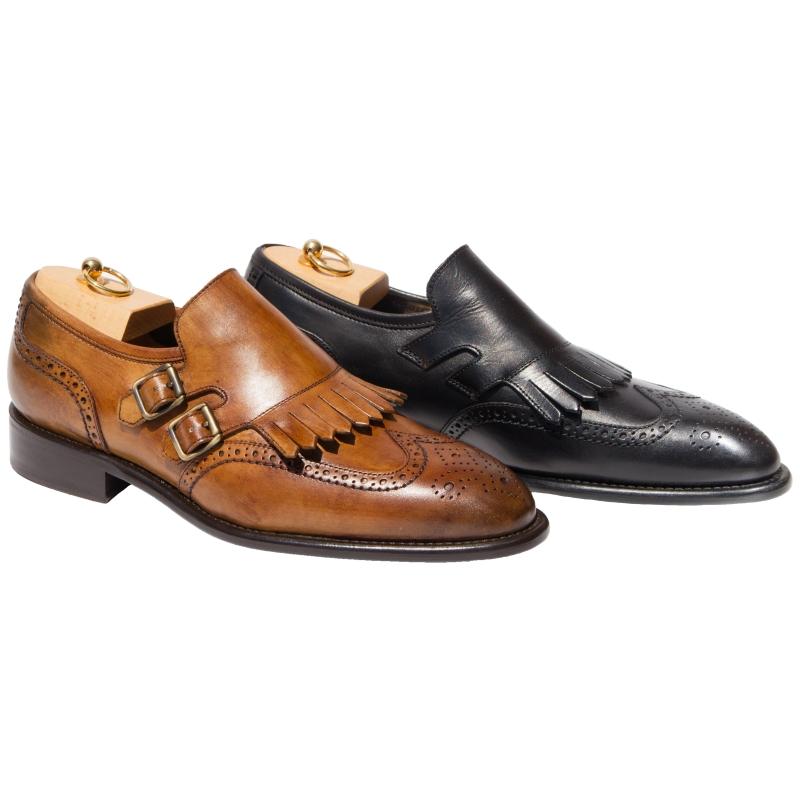 Calzoleria Toscana Wingtip Fringe Monk Strap Shoes Image