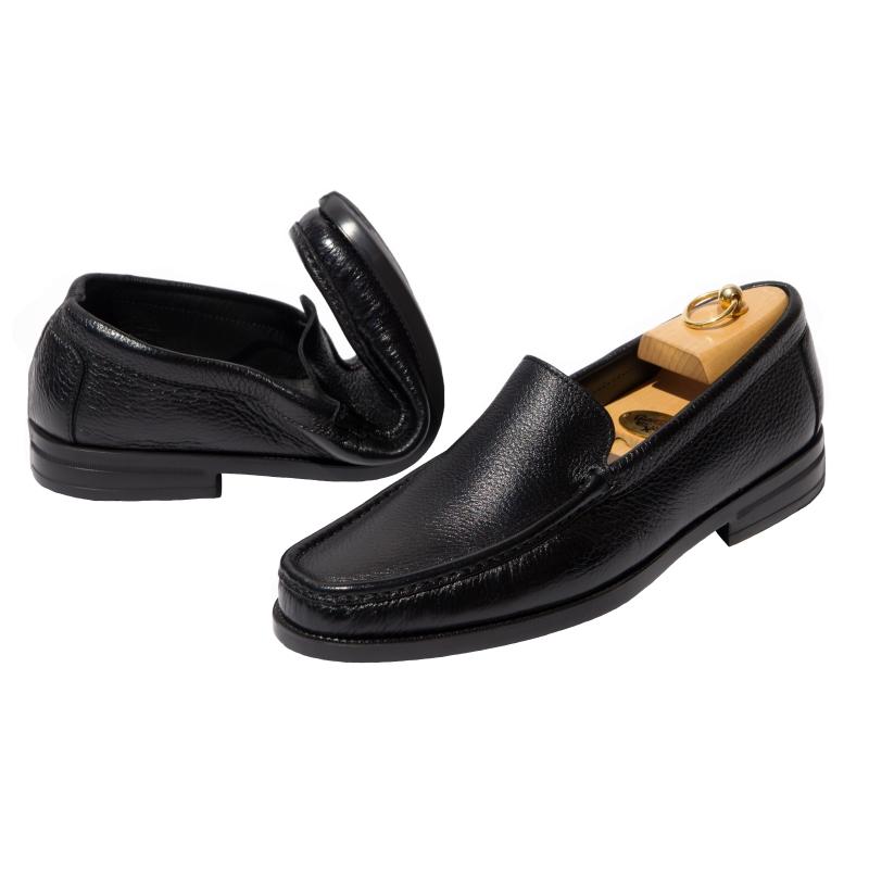Calzoleria Toscana Z682 Deerskin Loafers Black Image