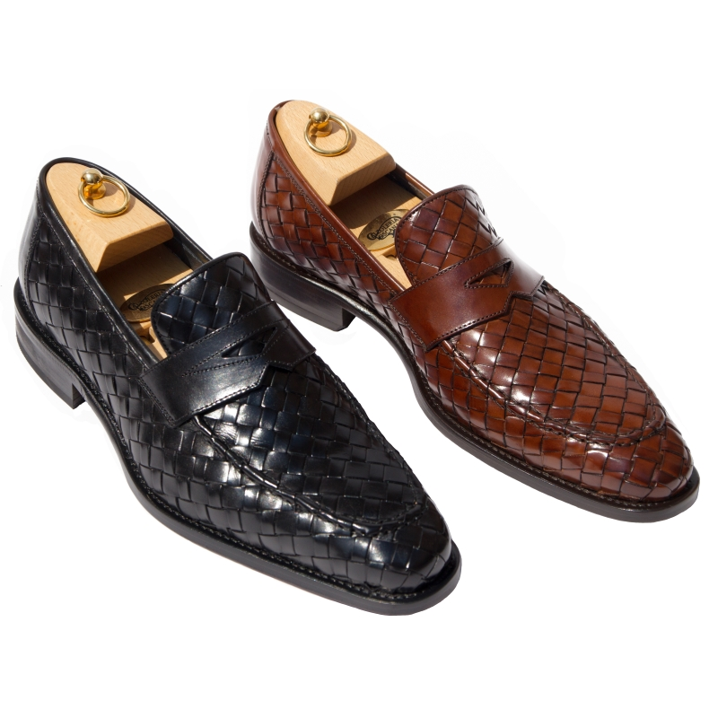 Calzoleria Toscana Z992 Woven Penny Loafers Image