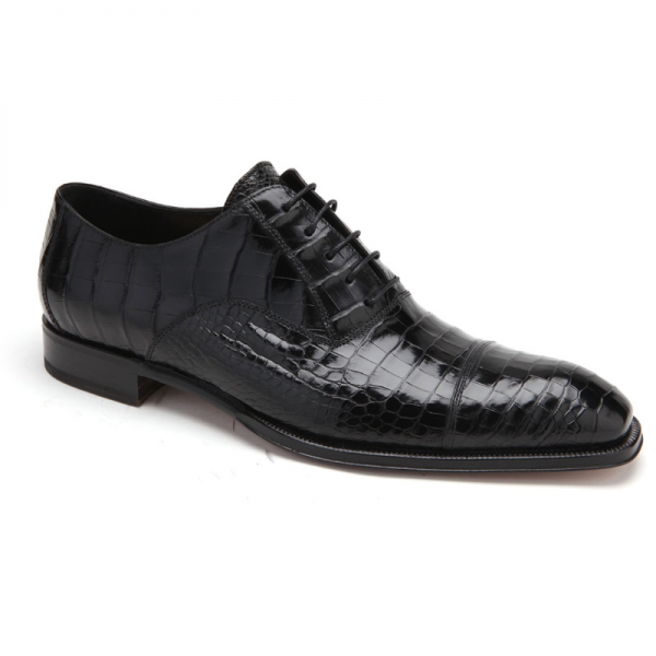 Caporicci 1102 Genuine Alligator Cap Toe Shoes Black Image