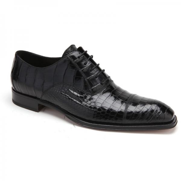 Caporicci 1102 Genuine Alligator Cap Toe Shoes Black Image