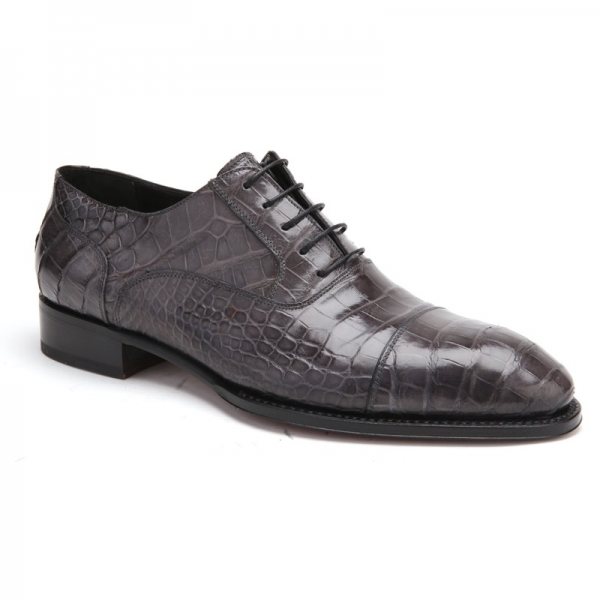 Caporicci 1102 Genuine Alligator Cap Toe Shoes Gray Image