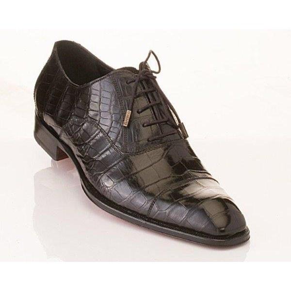 Caporicci 1114 Alligator Cap Toe Shoes Black Image