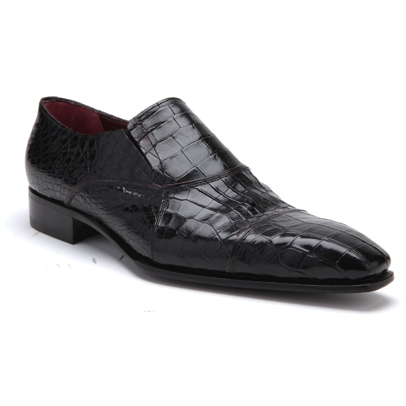 Caporicci 202 Alligator Cap Toe Loafers Black Image