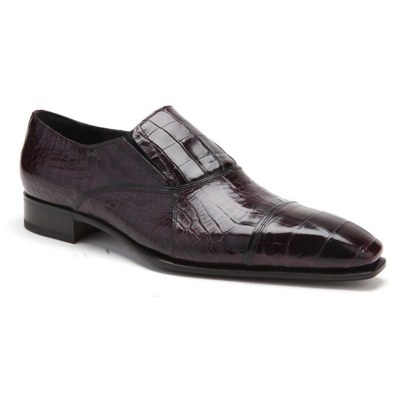 Caporicci 202 Alligator Cap Toe Loafers Burgundy Image