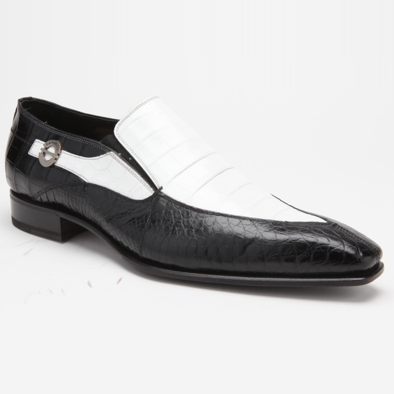Caporicci 203 Alligator Split Toe Loafers Black / White Image