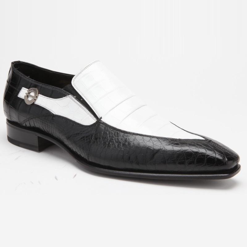 Caporicci 203 Alligator Split Toe Loafers Black / White Image