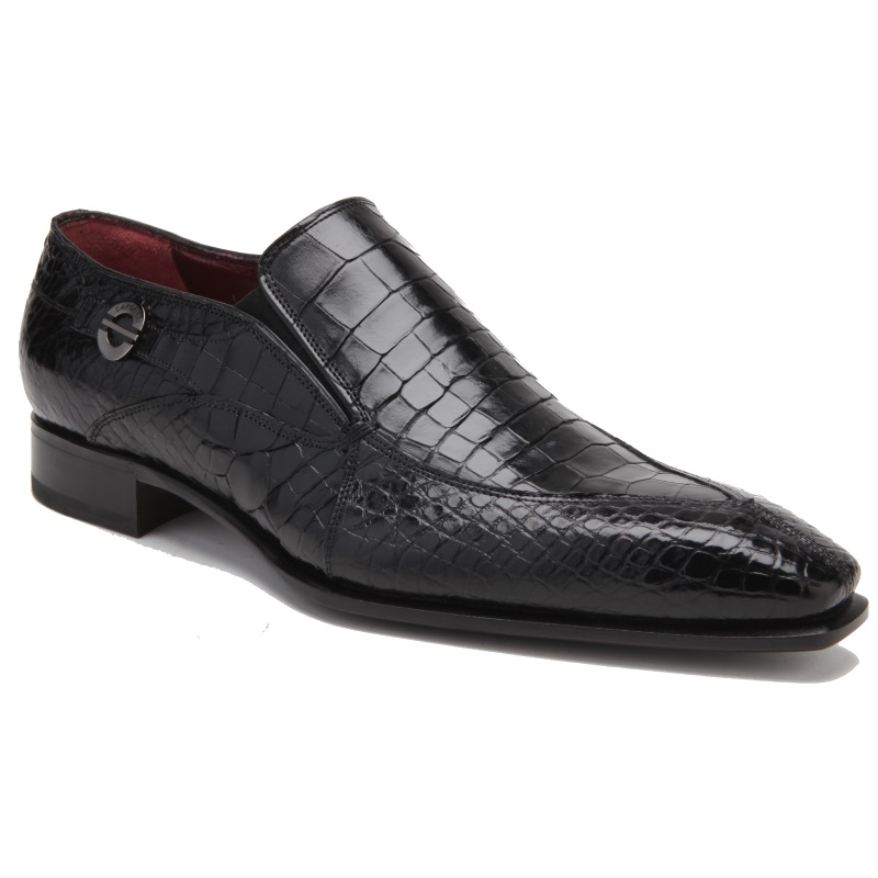 Caporicci 203 Alligator Split Toe Loafers Black Image
