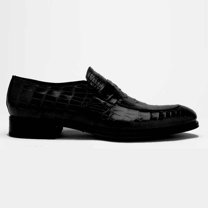 Caporicci 3321 Alligator Penny Loafers Shoes Black Image