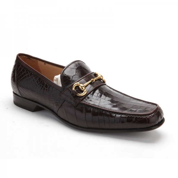 Caporicci 9872 Genuine Alligator Bit Loafers Dark Brown Image