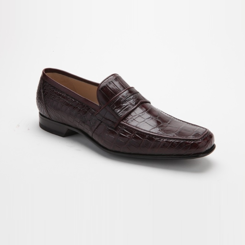 Caporicci 9961 Alligator Penny Loafers Bordo (Burgundy) Image