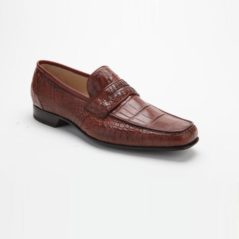 Caporicci 9961 Alligator Penny Loafers Gold Image