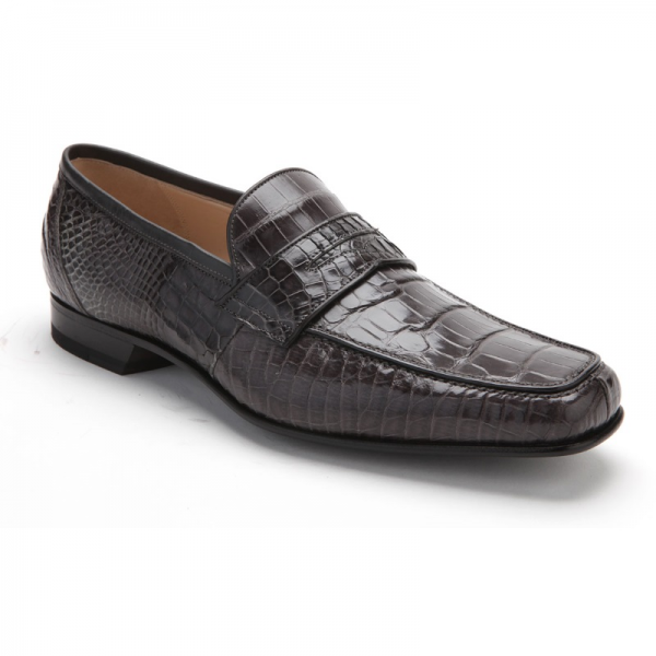 f4f3e513fae Caporicci 9961 Alligator Penny Loafers Dark Gray Image