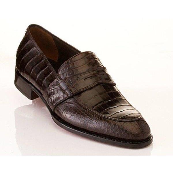 Caporicci 1208 Genuine Alligator Apron Toe Penny Loafers Dark Brown Image